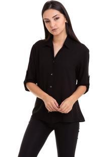 Camisa Kinara Viscose Manga ¾ Martingale Preto