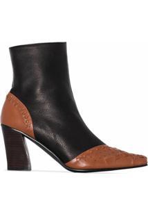 Reike Nen Ankle Boot Com Detalhe De Trama - Marrom
