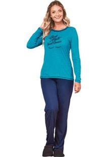 Pijama De Inverno Feminino Luna Cuore - Feminino-Azul