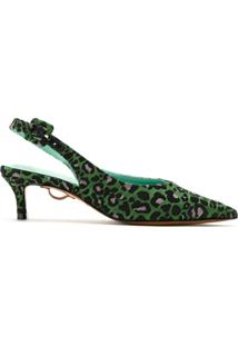 Blue Bird Shoes Scarpint Slingback Animal Print - Verde