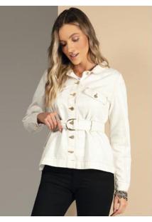 Jaqueta Com Faixa Ajustável Na Cintura Off White