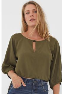 Blusa Cropped Maria Filó Recorte Verde