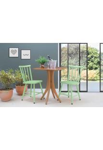 Mesa Quadrada E 2 Cadeiras Juliette - Jatobá E Verde Sálvia