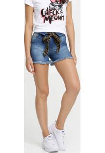 Short Feminino Jeans Amarração Animal Print Biotipo