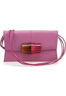 Bolsa Carteira Fecho Resinado Com Madeira Pink