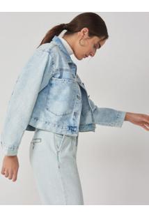 Amaro Feminino Jaqueta Jeans Bolsos Amplos, Azul Claro