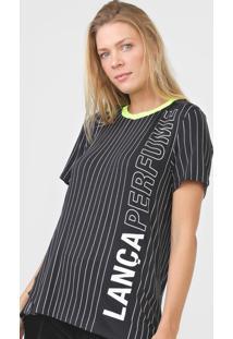 Camiseta Lança Perfume Listrada Neon Preta - Kanui