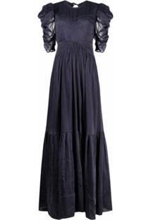 Isabel Marant Vestido Mangas Curtas Com Detalhe Franzido - Azul