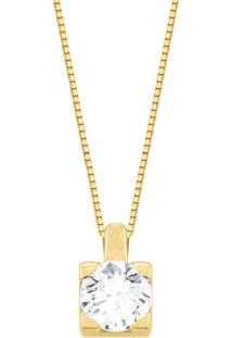 Pingente Solitário Ouro Amarelo E 30 Pontos De Diamantes