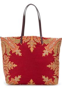 Etro Jacquard Paisley Print Shoulder Bag - Vermelho