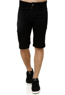 Bermuda Jeans Masculina Elétron Preto