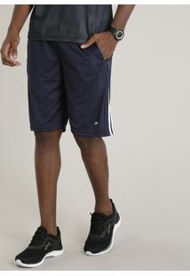 Bermuda Masculina Esportiva De Treino Ace Com Listras Laterais Azul Marinho