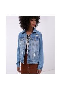 Jaqueta Jeans Com Puídos | Blue Steel | Azul | M