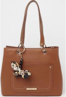 Bolsa Com Bag Charm - Marrom - 27X33X14Cmloucos E Santos