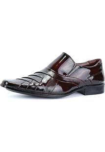 Sapato Social Verniz Texturizado Com Recortes Masculino Sapatofran Vinho