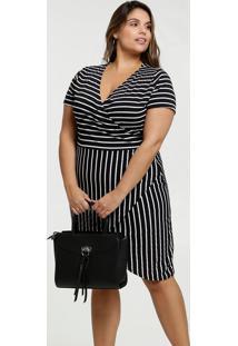 Vestido Feminino Listrado Transpassado Plus Size