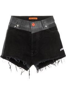Heron Preston Short Jeans Com Cós Contrastante - Preto