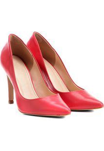 Scarpin Couro Shoestock Salto Alto - Feminino-Vermelho