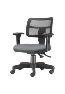 Cadeira Zip Tela Com Bracos Assento Crepe Cinza Base Rodizio Metalico Preto - 54453 Cinza