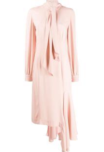 Marni Vestido Midi Assimétrico Com Amarração - Rosa