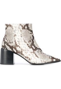 Casadei Ankle Boot Com Pele De Python - Preto