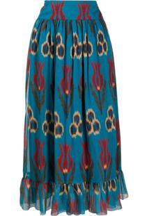 Redvalentino Saia Longa Com Estampa Floral - Azul