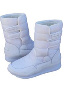 Bota Andarilha Neve E Frio Forrada Em Pelo Branco