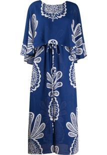 La Doublej Vestido Bain Douche Com Estampa De Abacaxi - Azul