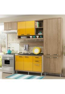 Cozinha Completa Multimóveis Com 5 Peças Sicília 5838 Argila/Amarelo