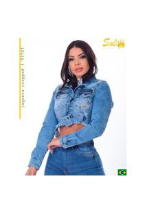 Jaqueta Cropped Jeans Com Cinto Feminina Sol Jeans