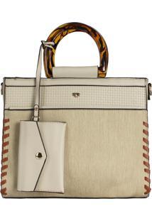 Bolsa Mão E Transversal Hand Bag Rústica Marfim Relax