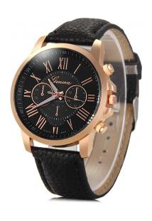 Relógio Feminino Quartzo Pulseira De Couro Pu E Sub-Dials Decorativo - Preto