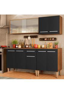 Cozinha Completa Madesa Emilly Box Com Balcão E Armário Vidro - Rustic/Preto