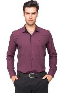 Camisa Social Tony Menswear Slim Fit Maniquetada Bordô