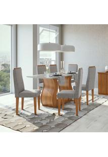 Conjunto De Mesa De Jantar Com 6 Cadeiras Dafne Ll Linho Off White E Cinza