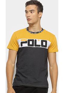 Camiseta Polo Rg 518 Malha Pontos Masculina - Masculino-Amarelo+Cinza