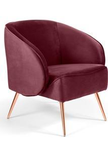 Poltrona Decorativa Fixa Pã©S Palito Metalizado Agnes D02 Veludo Marsala B-278 - Lyam Decor - Vermelho - Dafiti