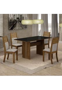 Conjunto De Mesa De Jantar Florença I Com 4 Cadeiras Havaí Suede Preto E Cinza