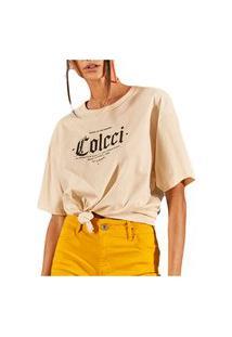 Camiseta Colcci Jamie Bege Feminino