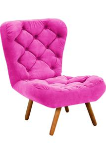 Poltrona Decorativa Botonê Iris Suede Pink Com Pés Palito - D'Rossi