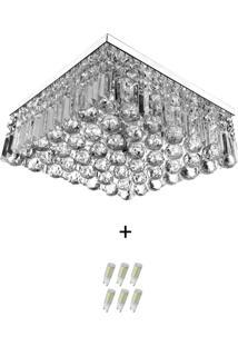 Lustre De Cristal Legitimo Wonderwall 40X40 Com Lâmpadas 600