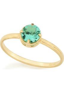 Anel Solitário Composto Por Cristal De Rommanel - Feminino-Verde