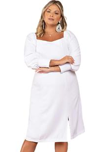 Vestido Branco Midi Casamento Civil