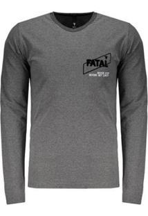 Camiseta Manga Longa Fatal Logo Estampada Masculina - Masculino-Cinza