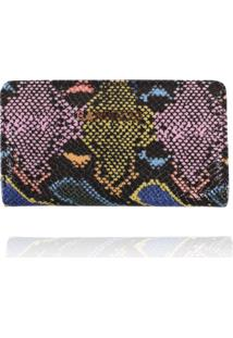 Carteira Flat Campezzo Couro Snake Colorido - Azul/Azul Marinho/Cobra/Estampado/Multicolorido - Feminino - Dafiti