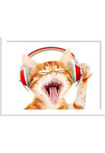 Quadro Decorativo Gato Do Rock Branco - Médio