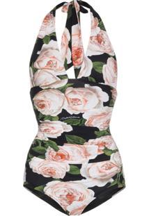 Dolce & Gabbana Maiô Com Estampa De Rosas - Estampado