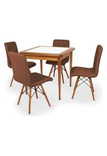Conjunto Mesa De Jantar Em Madeira Imbuia Com Azulejo + 4 Cadeiras Gomos - Marrom