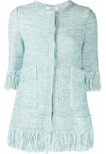 Charlott Jaqueta De Tweed Com Acabamento De Franjas - Azul