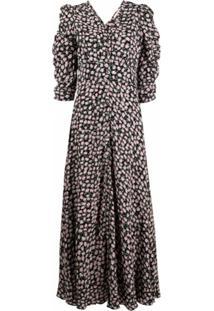 Bytimo Vestido Franzido Com Estampa Floral - Preto